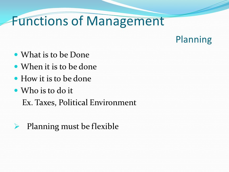 Functions of Management Planning