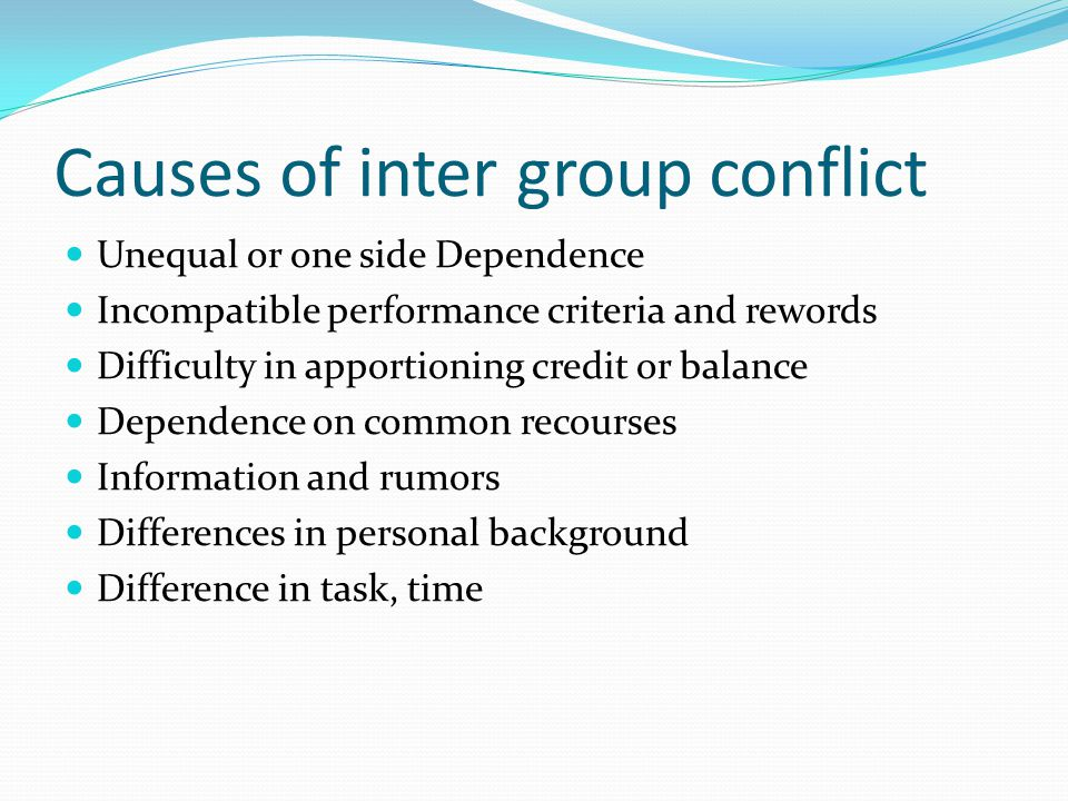 Causes of inter group conflict