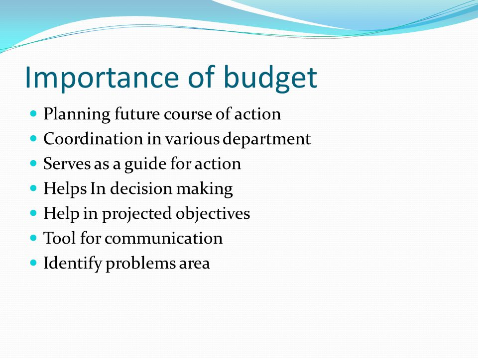 Importance of budget Planning future course of action