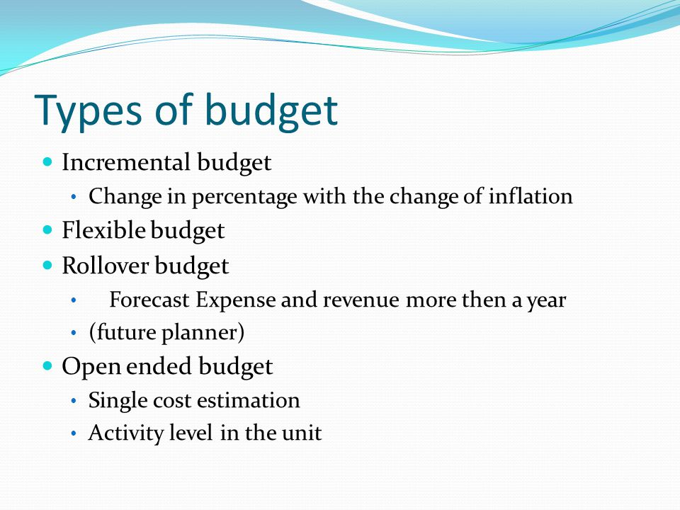Types of budget Incremental budget Flexible budget Rollover budget