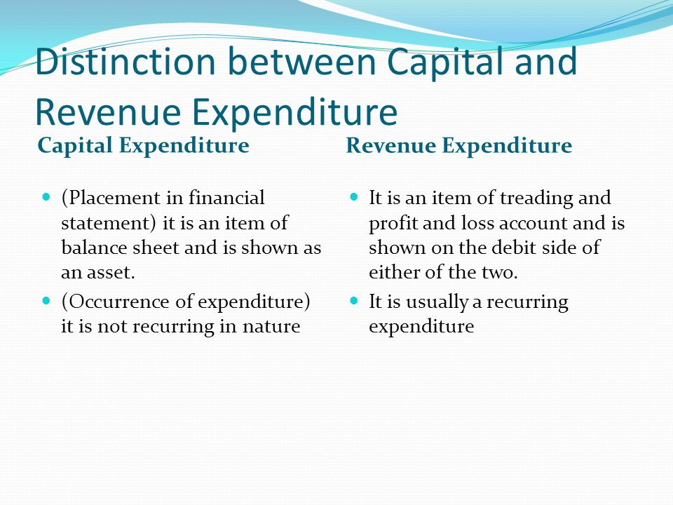 Distinction between Capital and Revenue Expenditure
