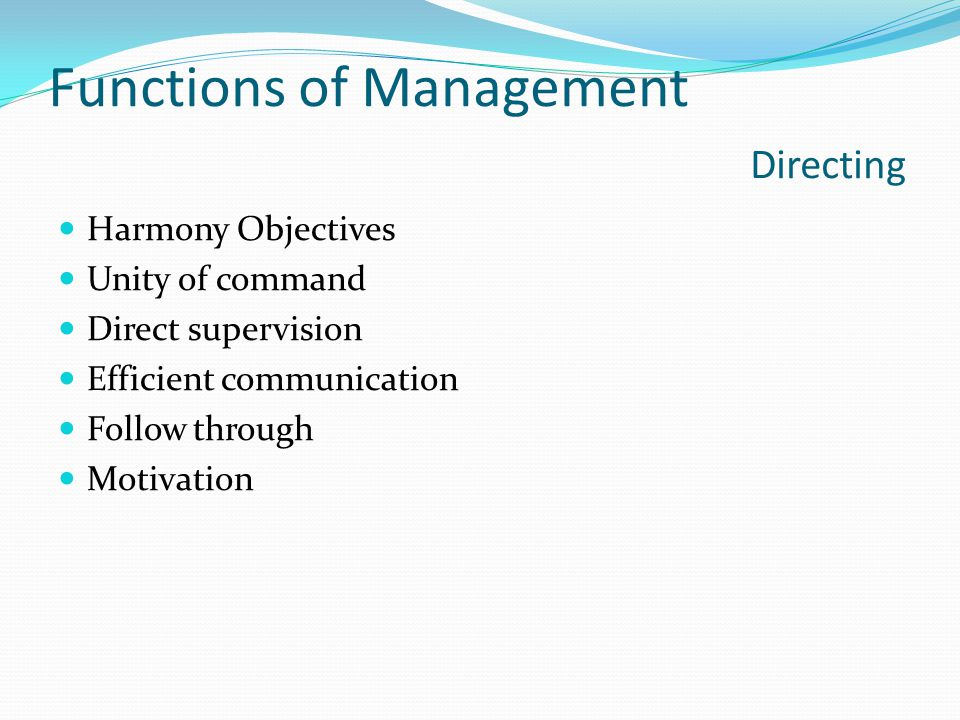 Functions of Management Directing