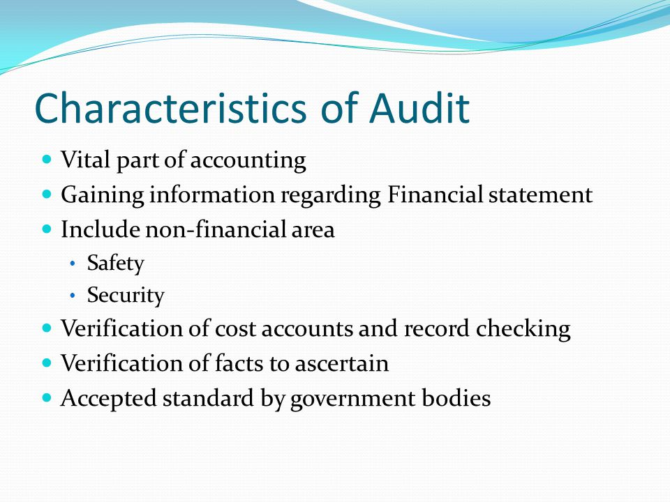 Characteristics of Audit