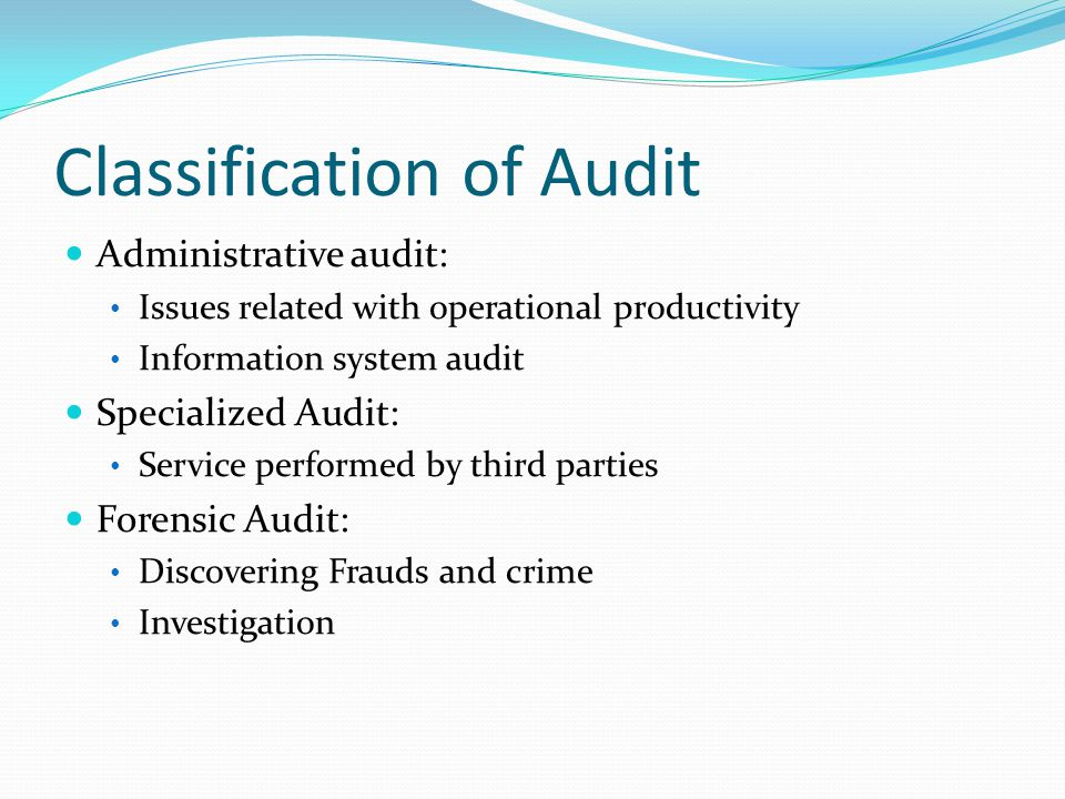 Classification of Audit