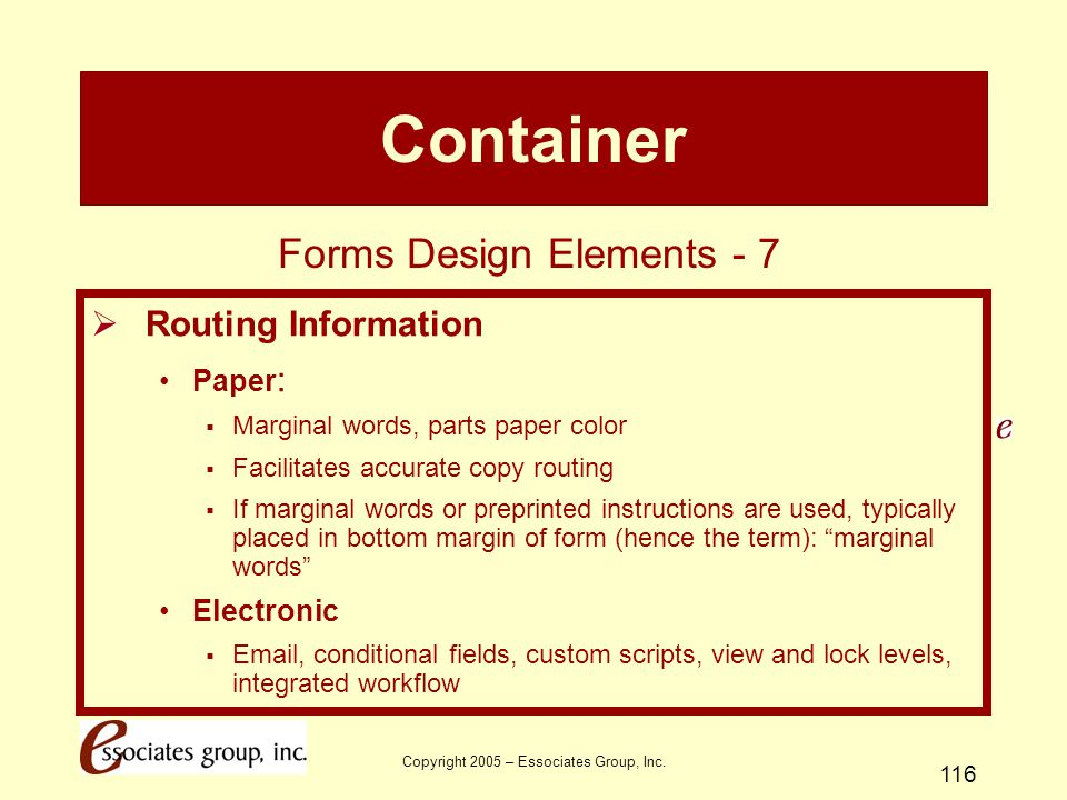 Container Forms Design Elements - 7 Routing Information Paper: