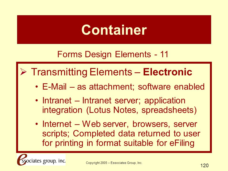 Container Transmitting Elements – Electronic