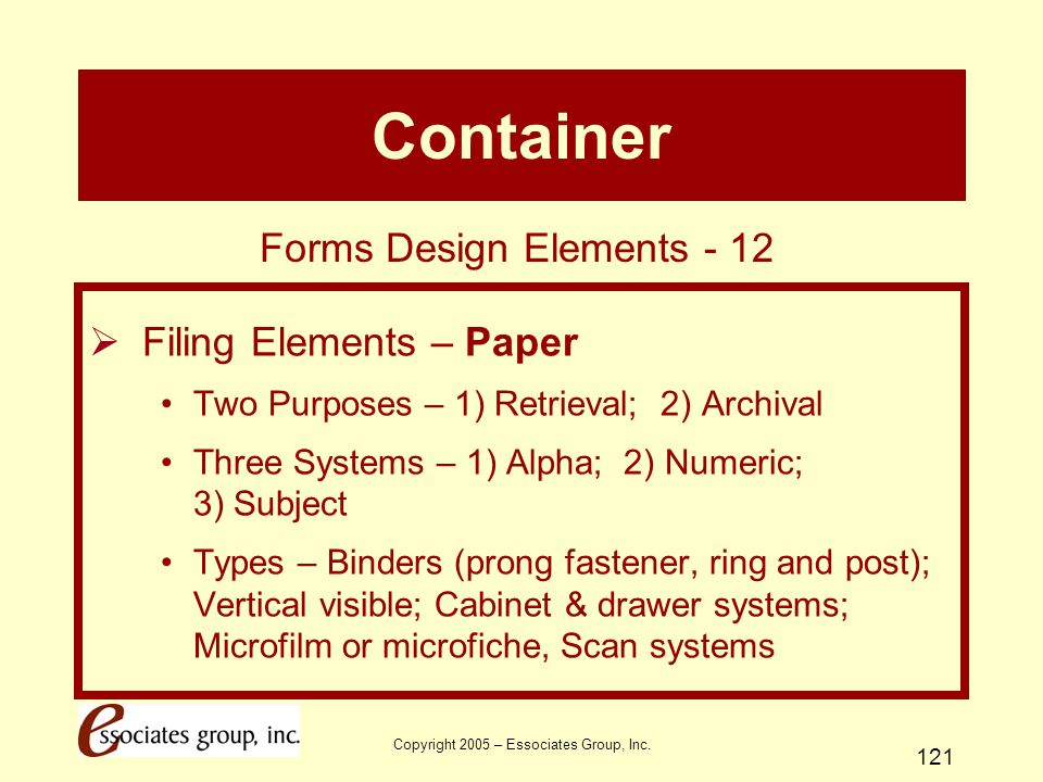 Container Forms Design Elements - 12 Filing Elements – Paper
