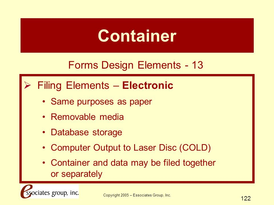 Container Forms Design Elements - 13 Filing Elements – Electronic