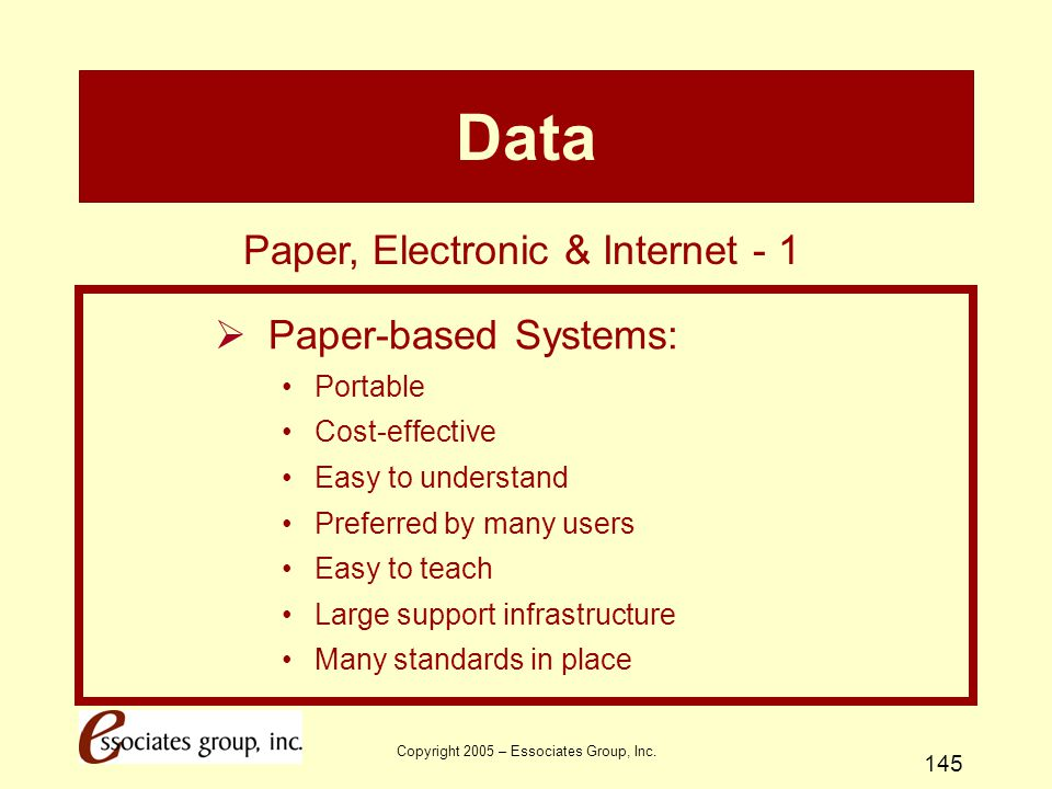 Data Paper, Electronic & Internet - 1 Paper-based Systems: Portable