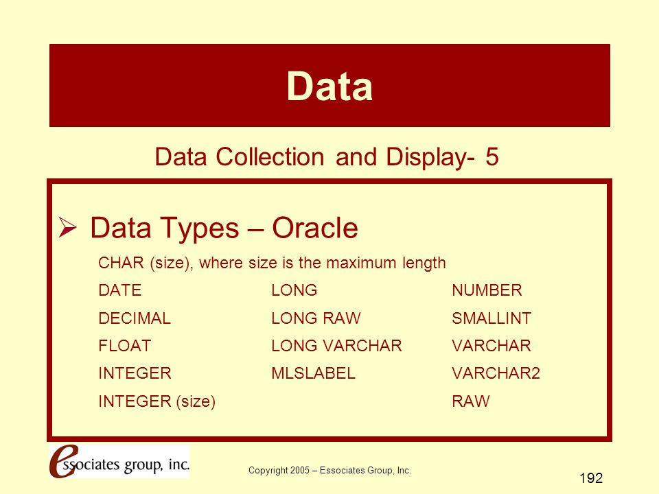 Data Data Types – Oracle Data Collection and Display- 5