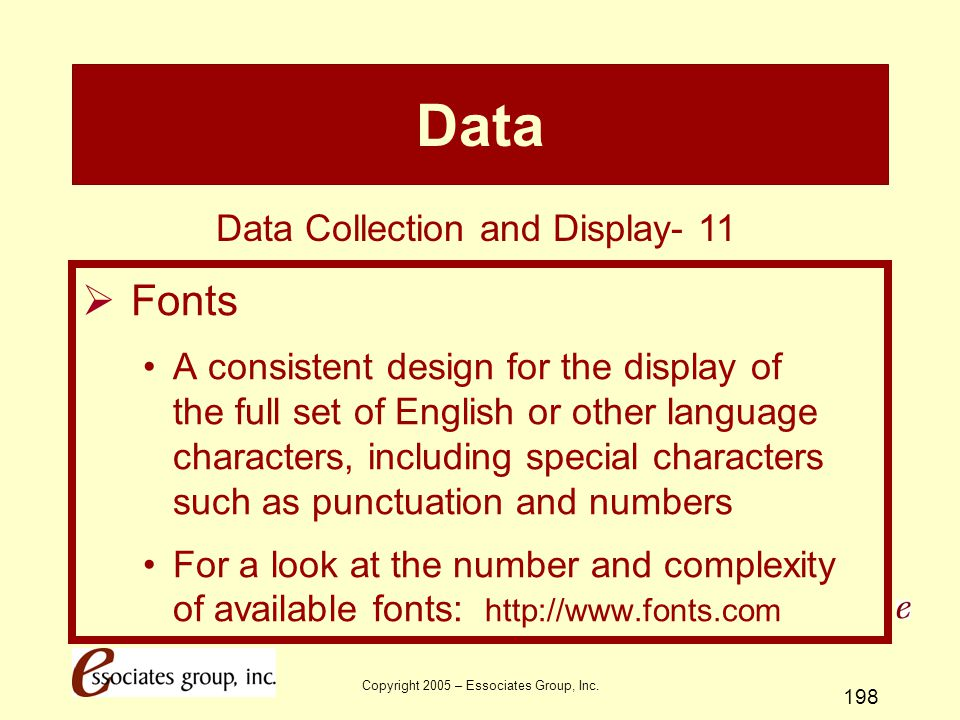 Data Fonts Data Collection and Display- 11