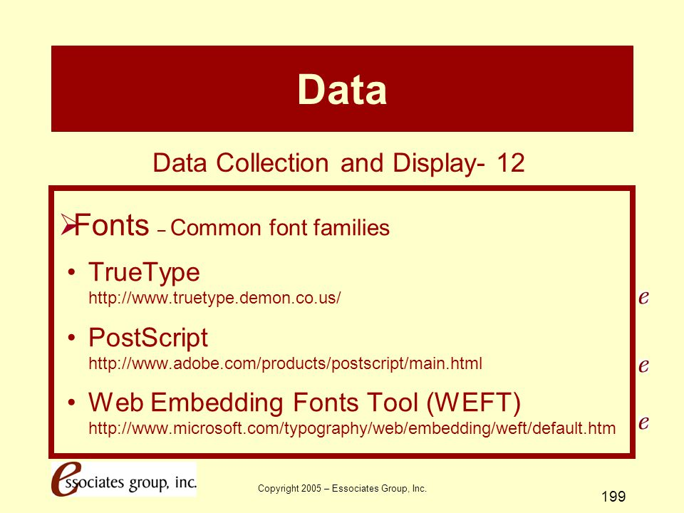 Data Fonts – Common font families Data Collection and Display- 12