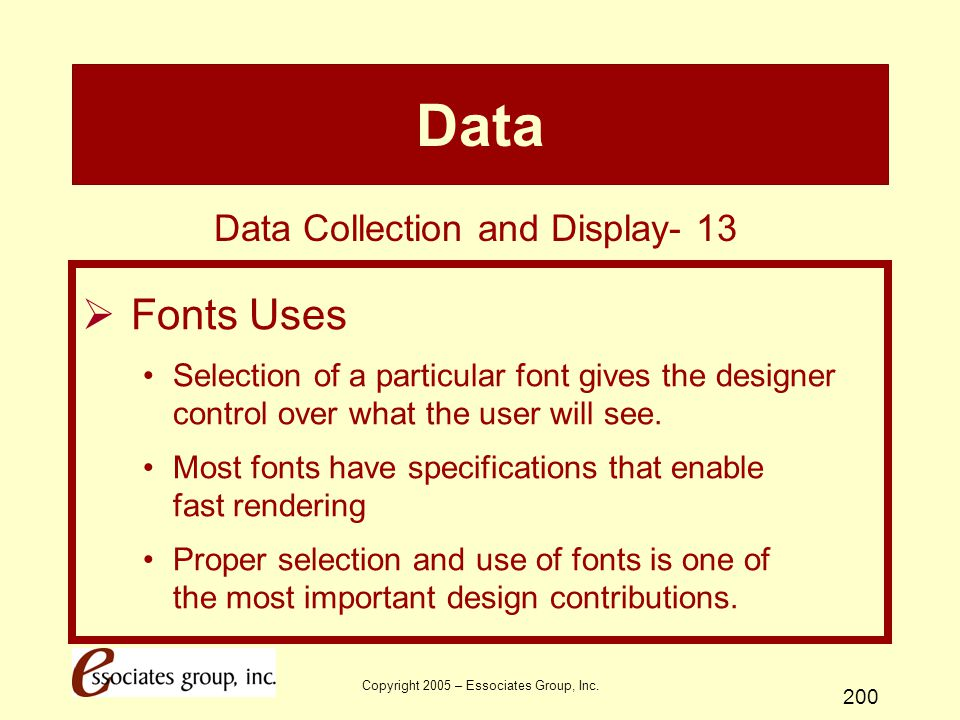 Data Fonts Uses Data Collection and Display- 13