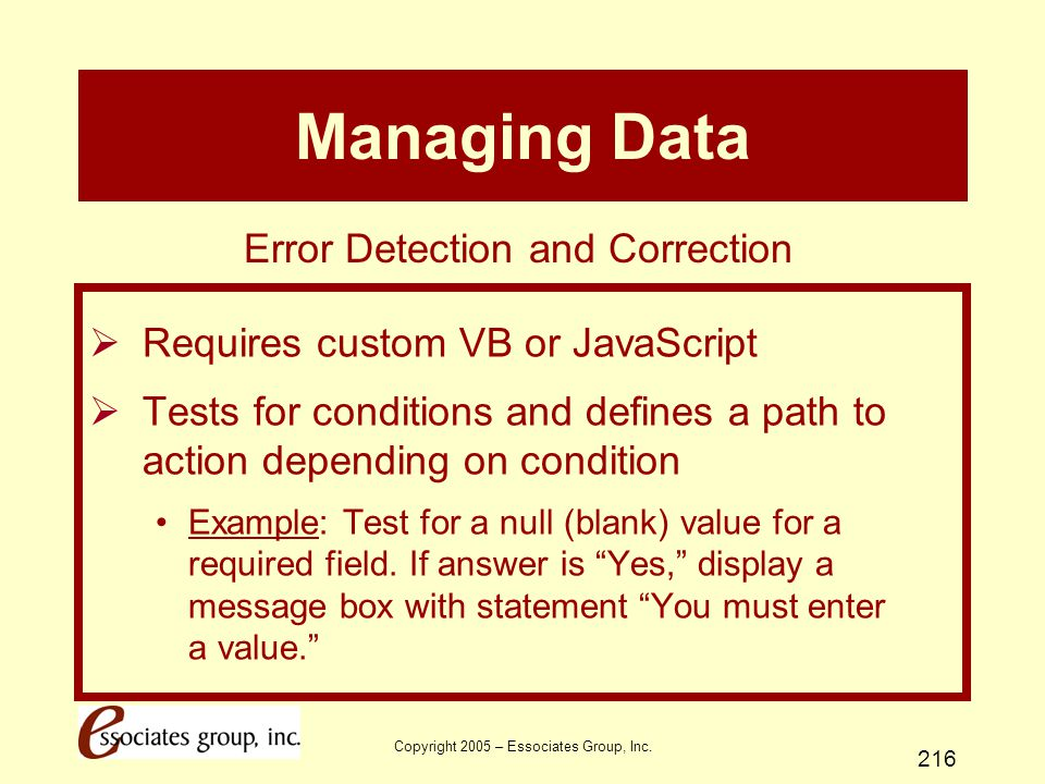 Managing Data Error Detection and Correction
