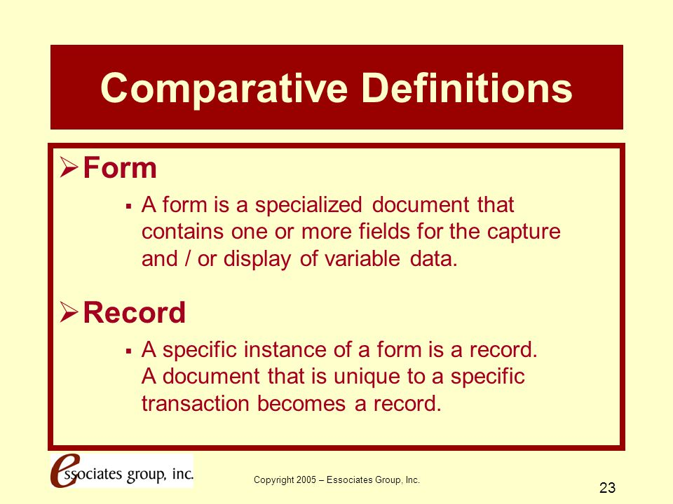 Comparative Definitions