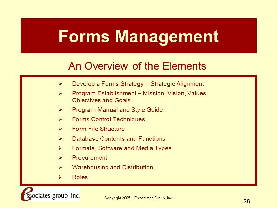 Forms Management An Overview of the Elements