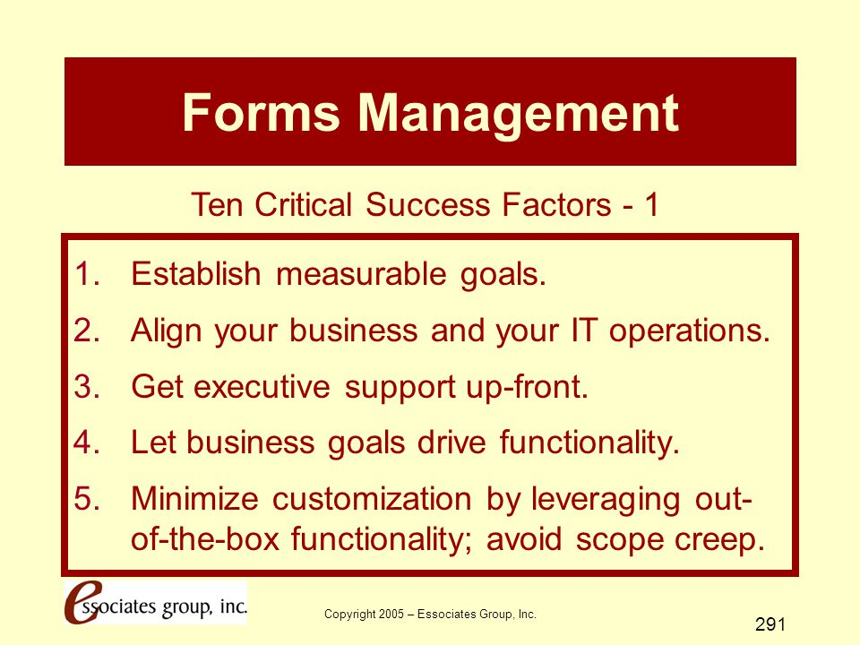Forms Management Ten Critical Success Factors - 1