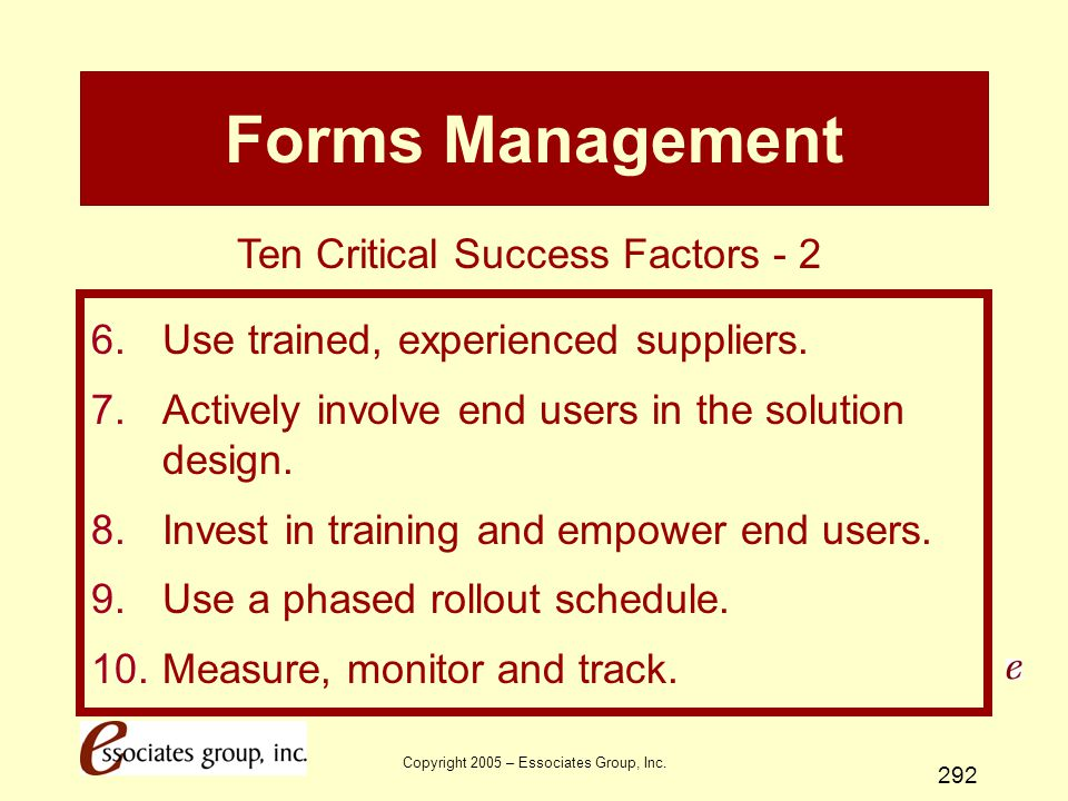 Forms Management Ten Critical Success Factors - 2