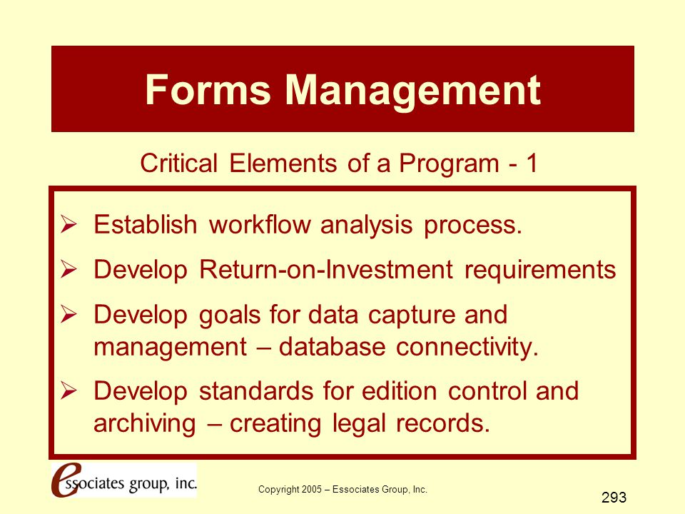 Forms Management Critical Elements of a Program - 1