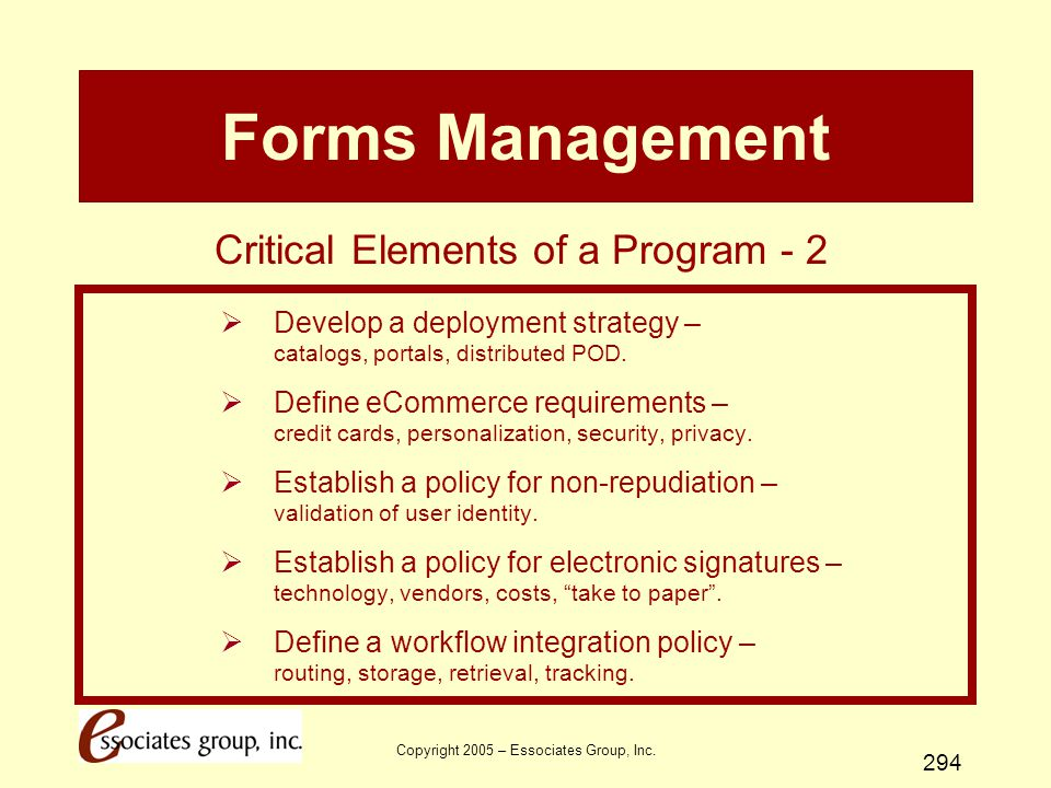 Forms Management Critical Elements of a Program - 2