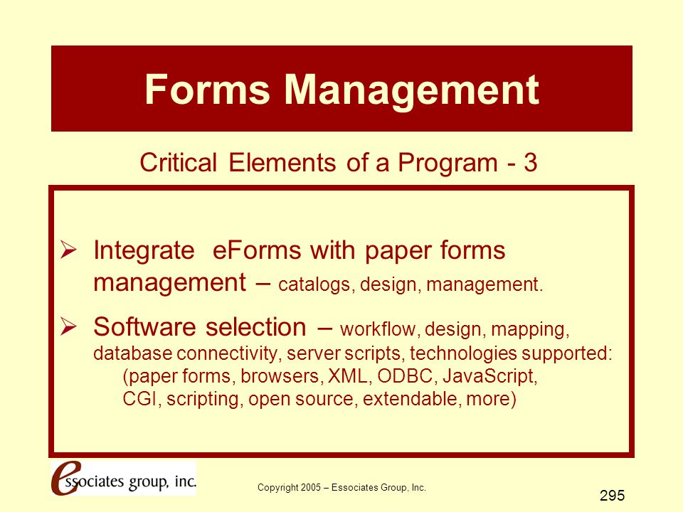 Forms Management Critical Elements of a Program - 3