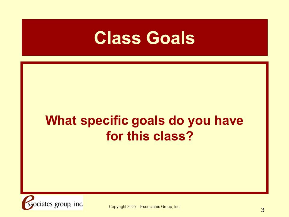 What specific goals do you have for this class