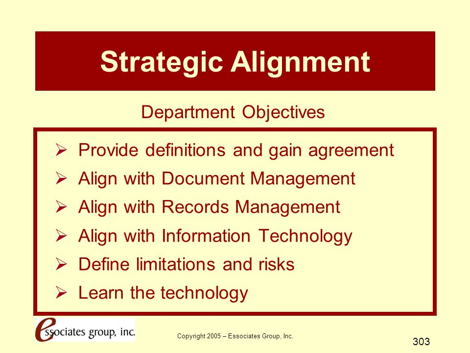 Strategic Alignment Department Objectives