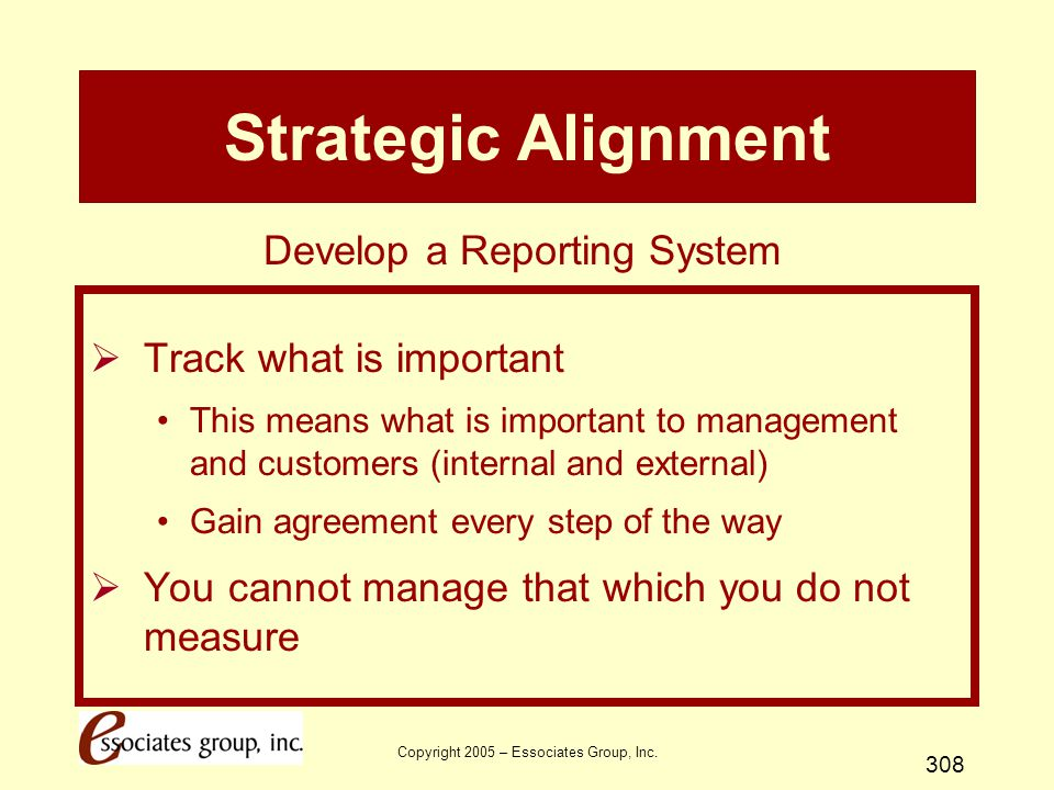 Strategic Alignment Develop a Reporting System Track what is important