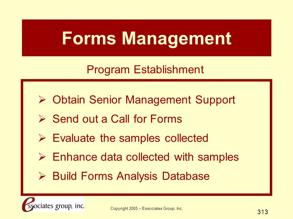 Forms Management Program Establishment