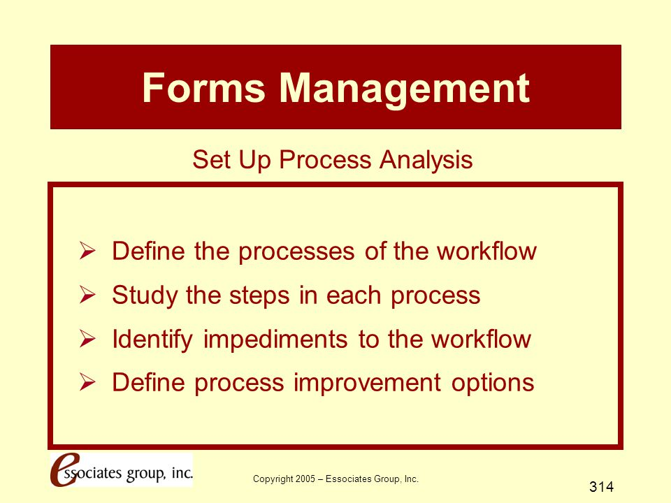 Forms Management Set Up Process Analysis