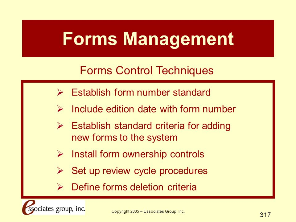 Forms Management Forms Control Techniques