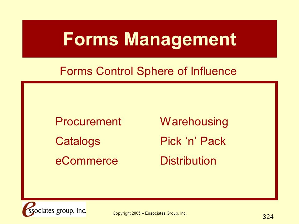 Forms Management Forms Control Sphere of Influence