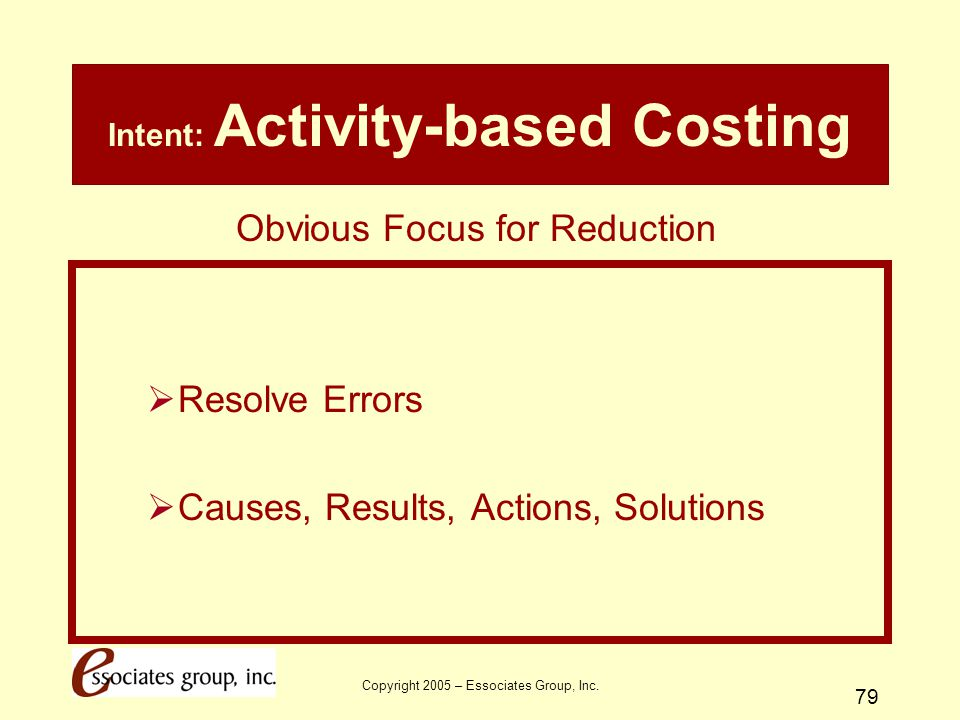 Intent: Activity-based Costing