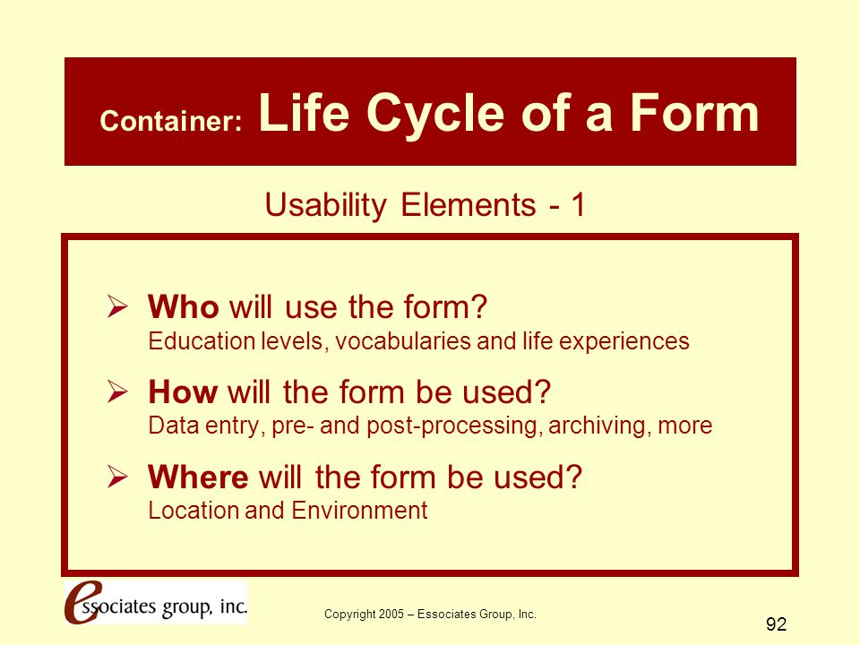 Container: Life Cycle of a Form