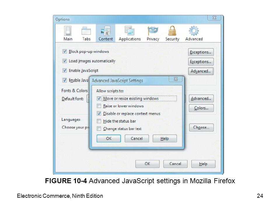 FIGURE 10-4 Advanced JavaScript settings in Mozilla Firefox