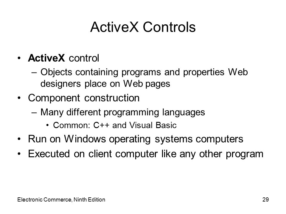 ActiveX Controls ActiveX control Component construction