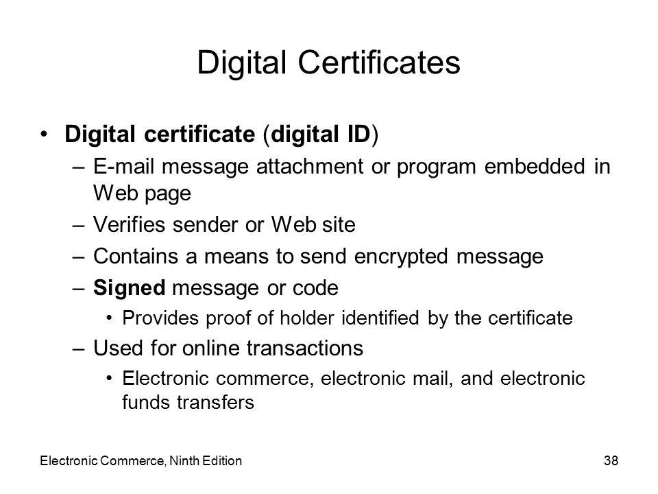 Digital Certificates Digital certificate (digital ID)
