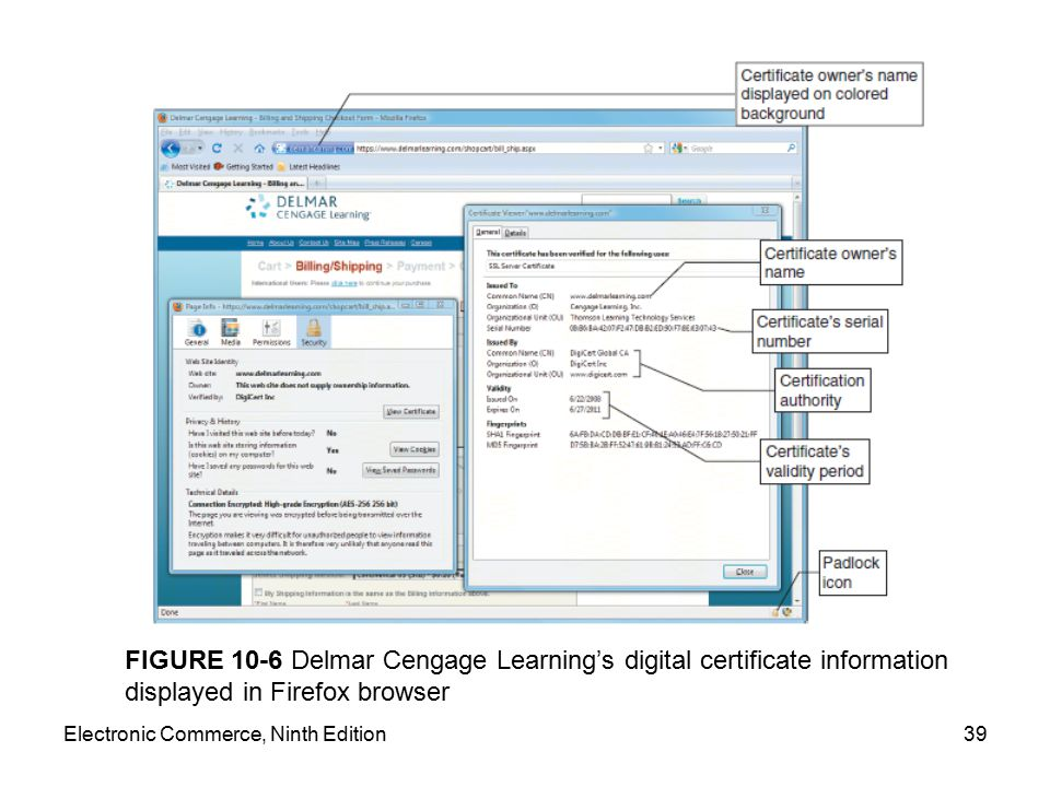 FIGURE 10-6 Delmar Cengage Learning's digital certificate information displayed in Firefox browser