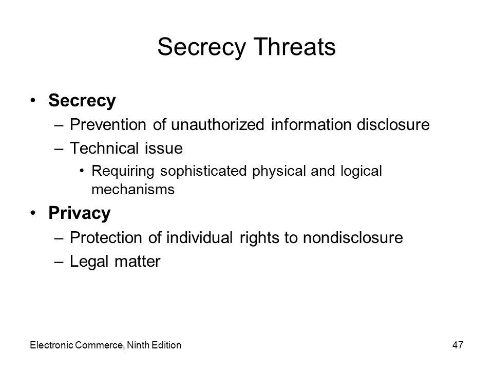 Secrecy Threats Secrecy Privacy