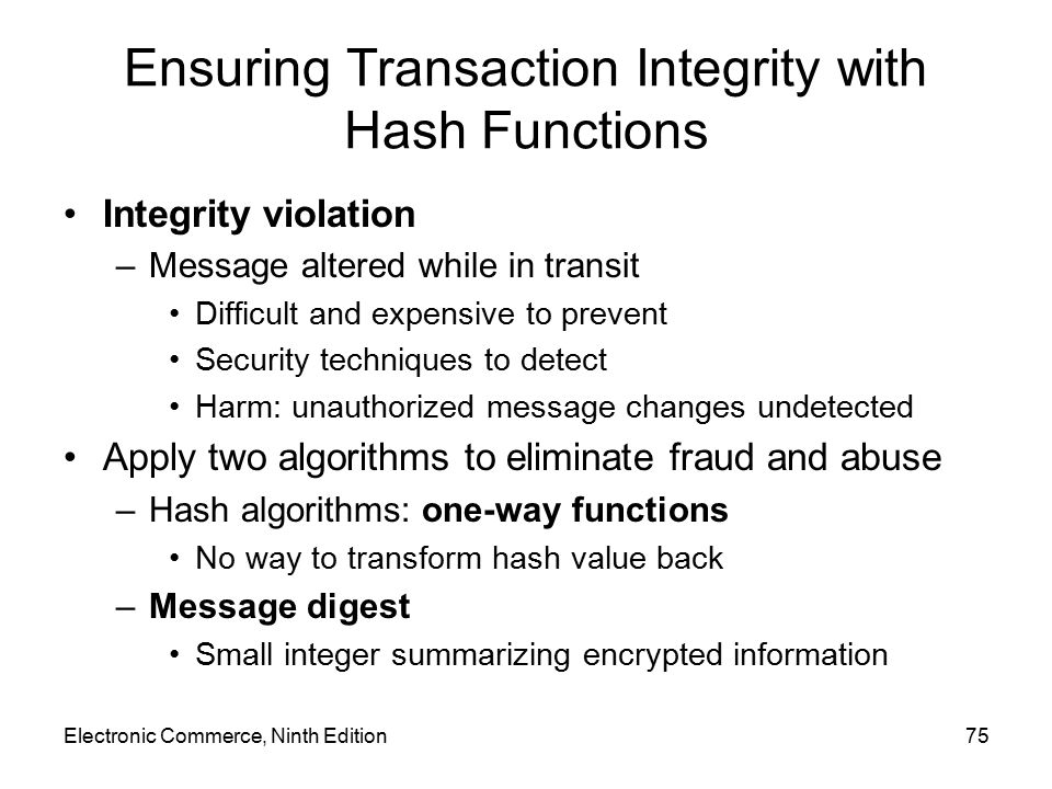 Ensuring Transaction Integrity with Hash Functions