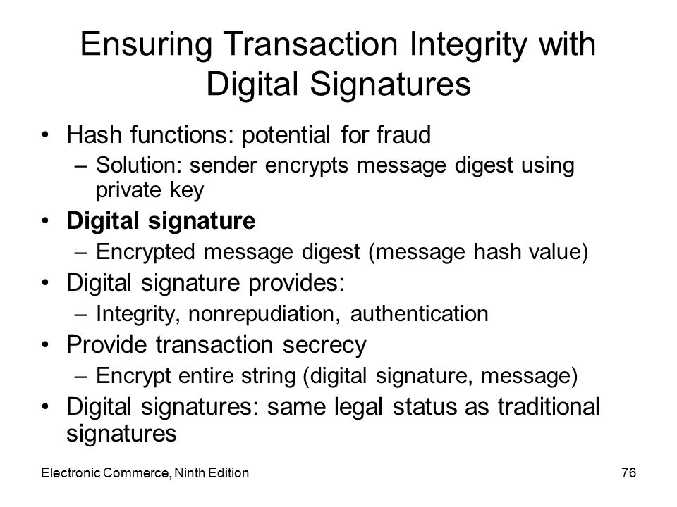 Ensuring Transaction Integrity with Digital Signatures