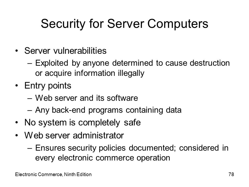 Security for Server Computers