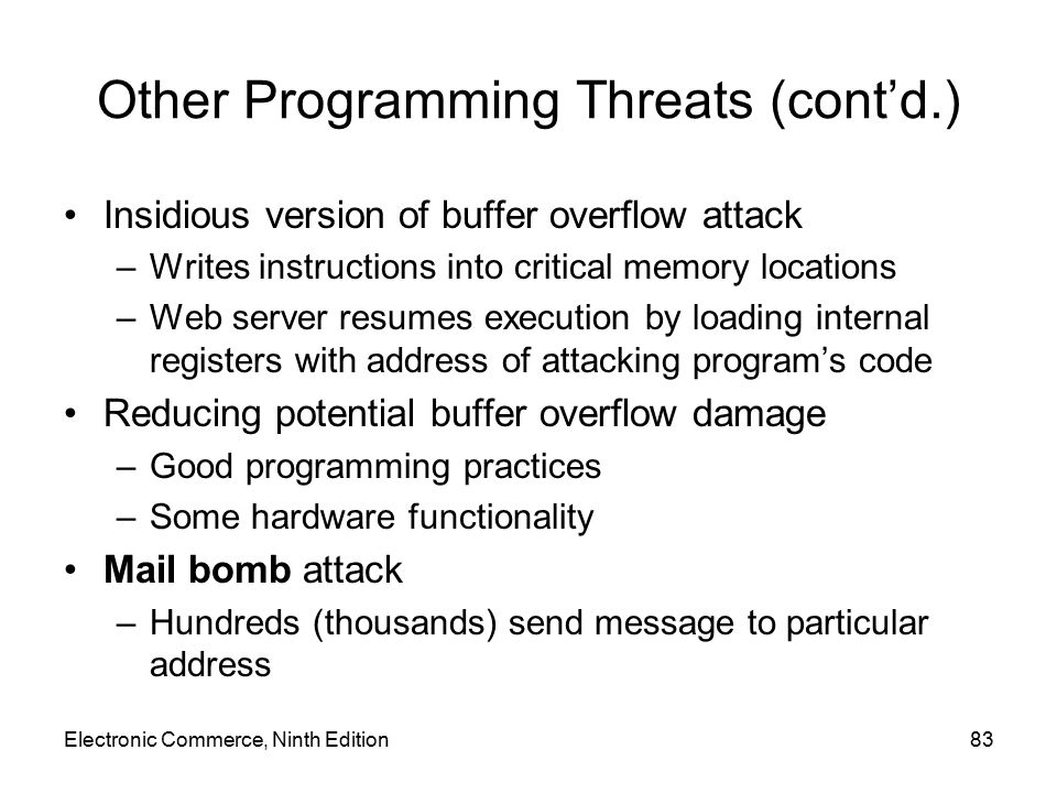 Other Programming Threats (cont'd.)