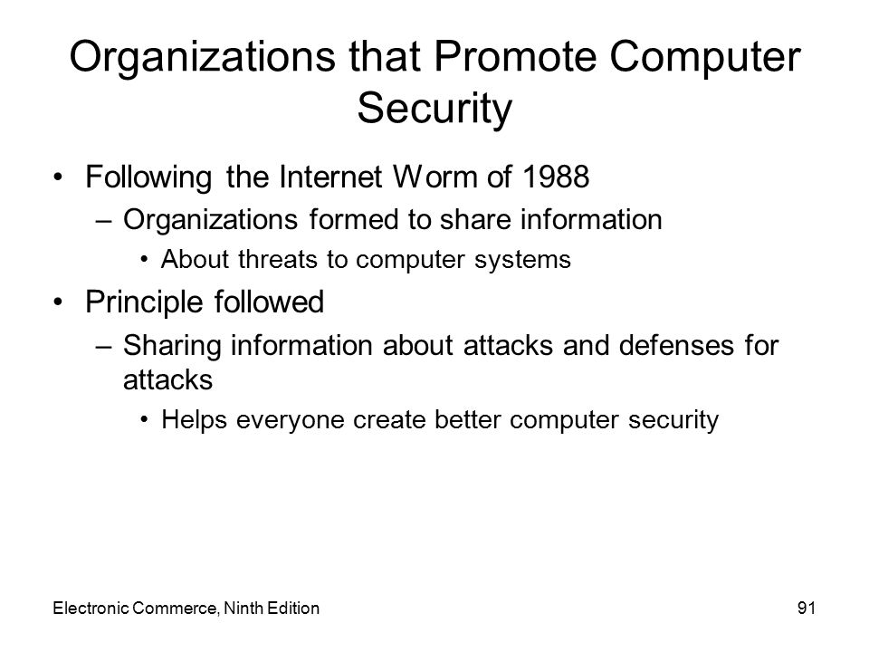 Organizations that Promote Computer Security