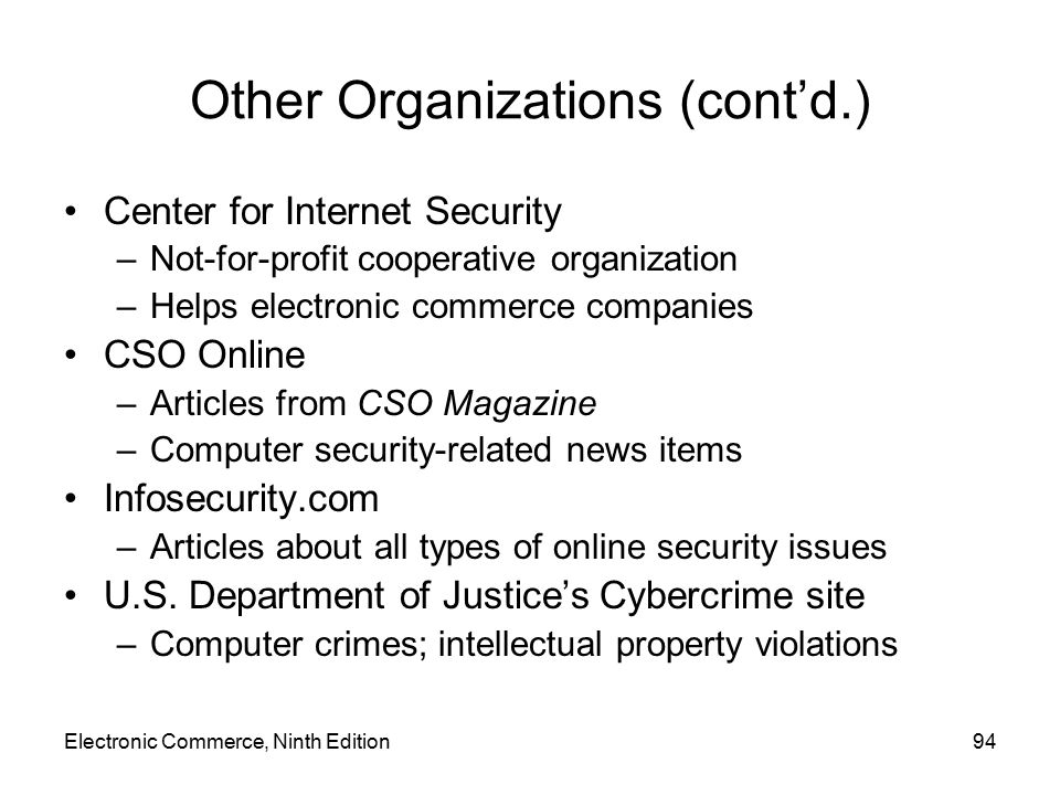 Other Organizations (cont'd.)