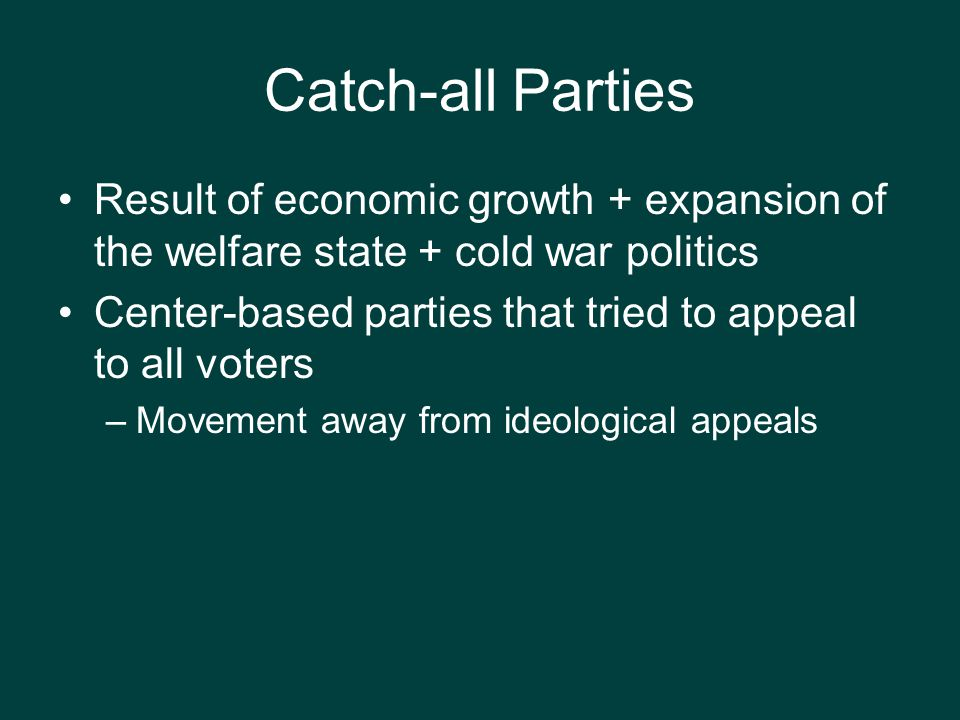 Catch-all Parties Result of economic growth + expansion of the welfare state + cold war politics.