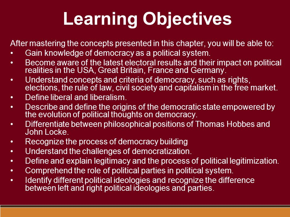 Learning Objectives After mastering the concepts presented in this chapter, you will be able to: Gain knowledge of democracy as a political system.