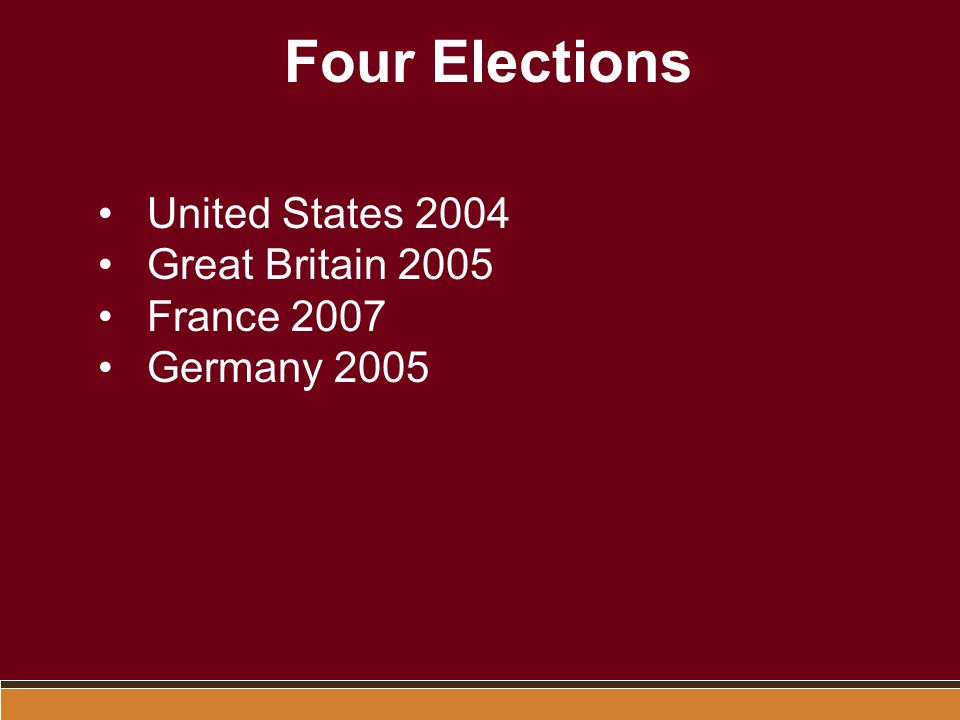 Four Elections United States 2004 Great Britain 2005 France 2007