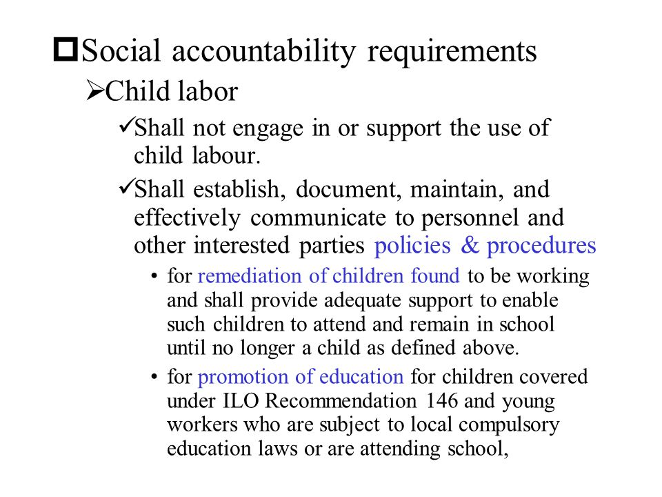 Social accountability requirements