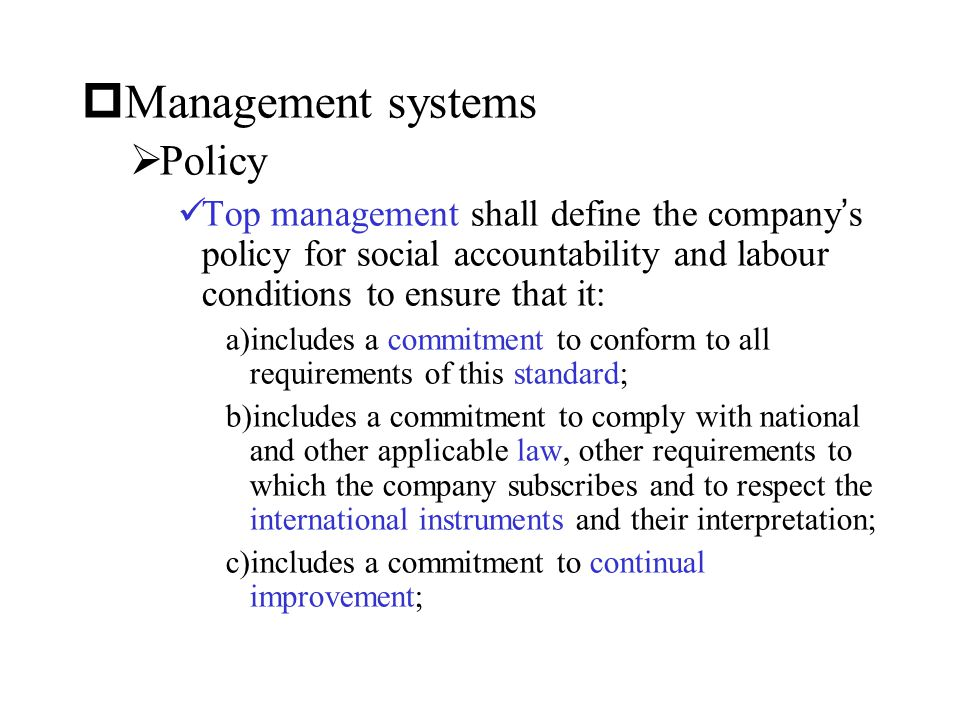 Management systems Policy